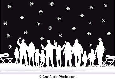 winter., silhouette, famille