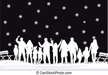 winter., silueta, família