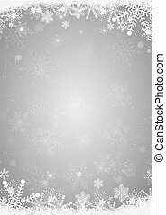 Winter silver christmas background with snowflake border