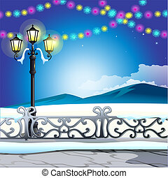 Winter sketch on the background of snowy hills and vintage street lamp with colorful garlands. Sample of Christmas and New year greeting card, festive poster or party invitations. Vector illustration.
