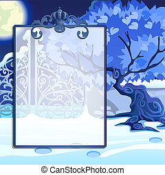 Winter sketch with space for your text on the background of snowy trees in the Park. Sample of Christmas and New year greeting card, festive poster or party invitations. Vector illustration.