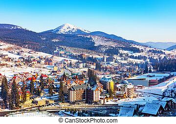 Winter ski resort Bukovel, Ukraine - Scenic winter view of ...