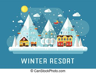 Winter Ski Resort Flat Landscape