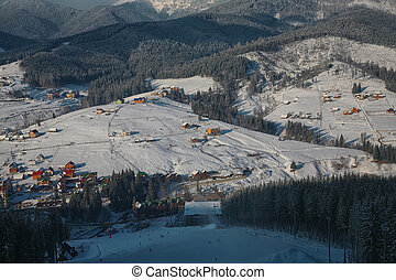 winter ski resort in the Carpathian Mountains