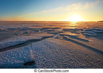 winter, sky., nature., meer, ondergaande zon , vurig, samenstelling, landscape