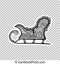 Winter sled, sleigh Sticker ornate illustration