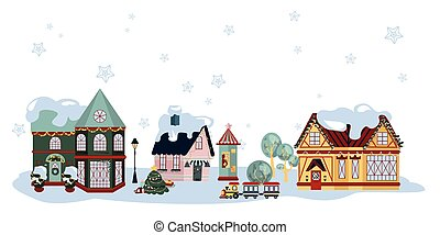 Winter Small Town Houses