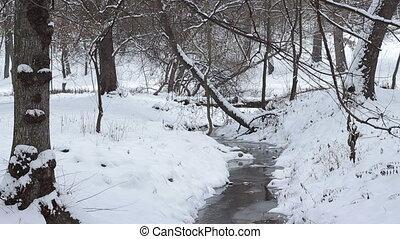Winter Small Water Stream Landscape