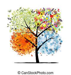 winter., smukke, kunst, forår, efterår, -, træ, fire, ...