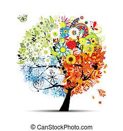 winter., smukke, kunst, forår, efterår, -, træ, fire,...