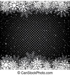 Winter snow black background