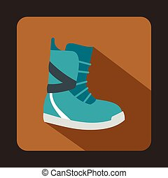 Winter snow boot icon, flat style