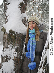 Winter, snow-covered forest, standing the beautiful girl .