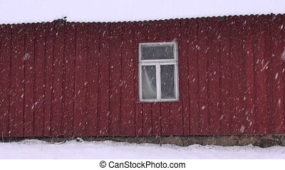 winter  snow falling in farm
