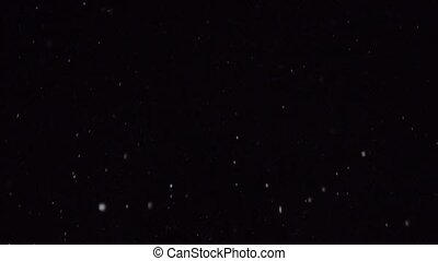 winter Snow, falling snow isolated on black background, large and small snow snowflakes