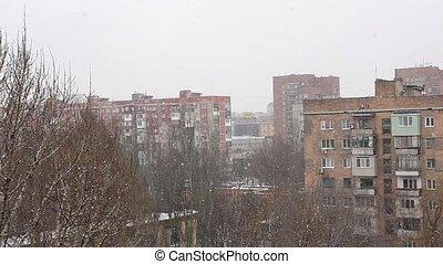 Winter. Snow falls