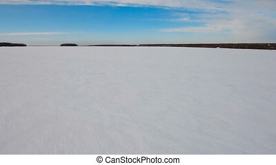 Winter snow field. Winter landscape. - The field covered...