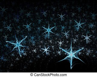 Winter snow flakes 3D - Abstract fractal background....