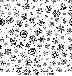 Winter Snow Flakes Doodles. Black and White Seamless Background Pattern. Hand-Drawn Vector Illustration. Pattern Swatch