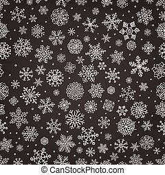 Winter Snow Flakes Doodle Seamless Background - Winter Snow...