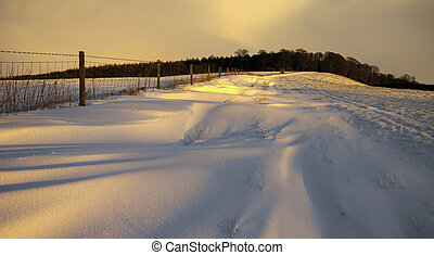 Winter snow in North Yorkshire - England
