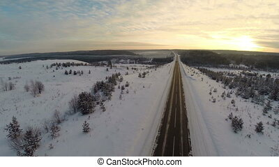winter snow landscape. aerial view fly over