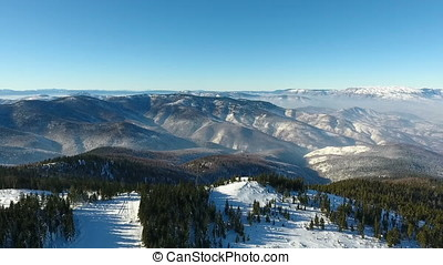 winter snow landscape. aerial view fly over. majestic snow...