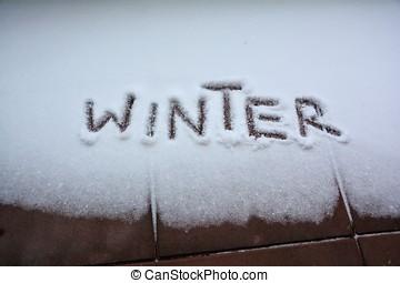 Winter - Snow on a balcony in winter