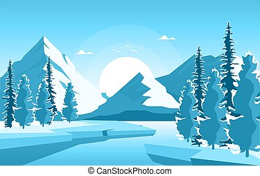 Winter Snow Pine Mountain Frozen Lake Nature Landscape Illustration