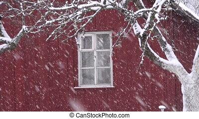 winter snow snowflake snowing falling near farm house window