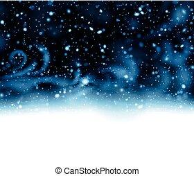 Winter snow storm on dark blue background.