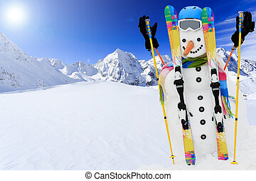Winter, snow, sun and fun - happy snowman and snowy ...