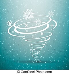 Winter snow tornado blue background