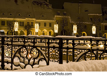 winter snow town square houses christmas new year Sibiu - ...