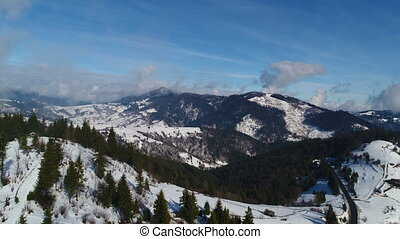 Winter snow trees. aerial view fly over. nature - Winter ...