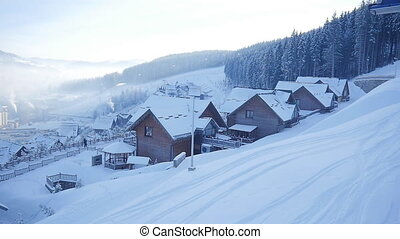 winter snow village. mountain tourism. winter season