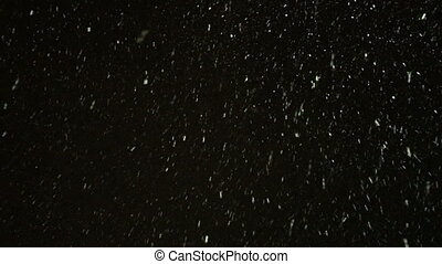 Winter snowfall at night bottom view. Video 4k.