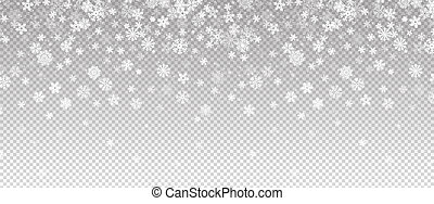 Winter snowfall. Falling snow, flakes banner. Vector Christmas snowfall border isolated on transparent background