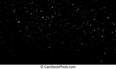 Winter snowfall on transparent background with an alpha channel. Snow motion, CGI loop animation. Falling snow-flakes. Ready to use as background for Christmas or winter video