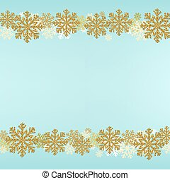 Winter Snowflake Border Blue Background
