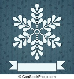Winter snowflake design with ribbon