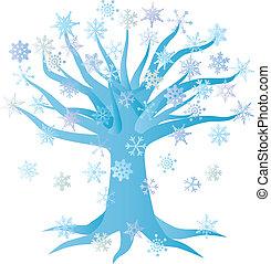 Winter Snowflake Tree Illustration