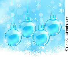 Winter snowflakes background with Christmas glass balls