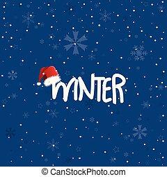 Winter snowflakes blue background, postcard