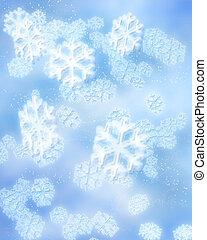 winter snowflakes - digital illustration of blue snowflakes