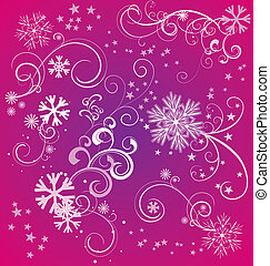 winter snowflakes magenta background