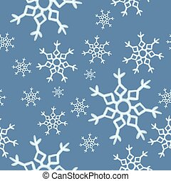 Winter snowflakes on blue background seamless pattern