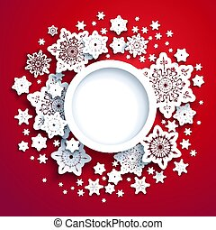 Winter snowflakes red card - Round frame winter paper cut...