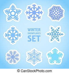 Winter snowflakes vector set