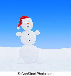 Winter snowman in santa hat